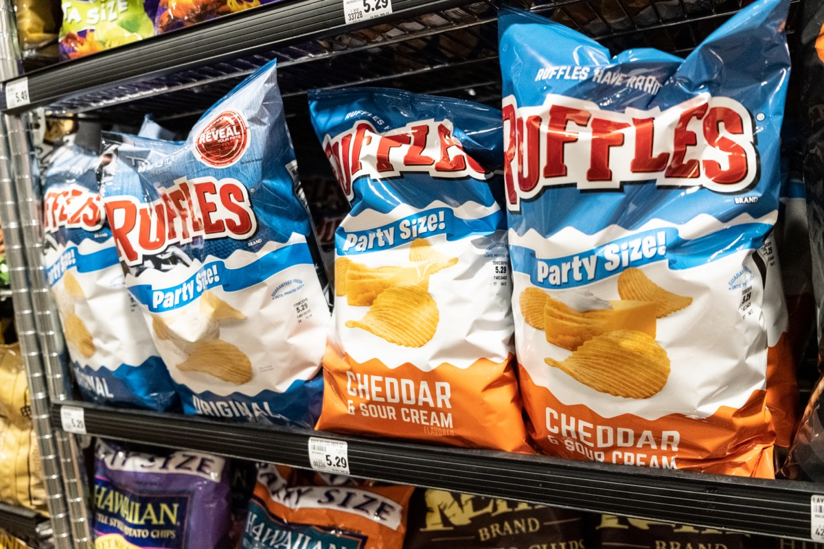 display of ruffles chips in supermarket