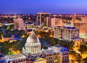 The skyline of Jackson, Mississippi at dusk