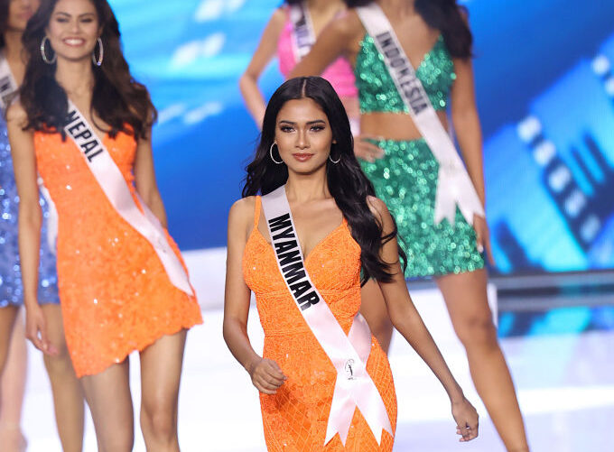 Miss Myanmar, Thuzar Wint Lwin, competing on stage in the Miss Universe competition