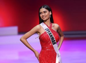 Miss Myanmar Ma Thuzar Wint Lwin competing in the Miss Universe pageant