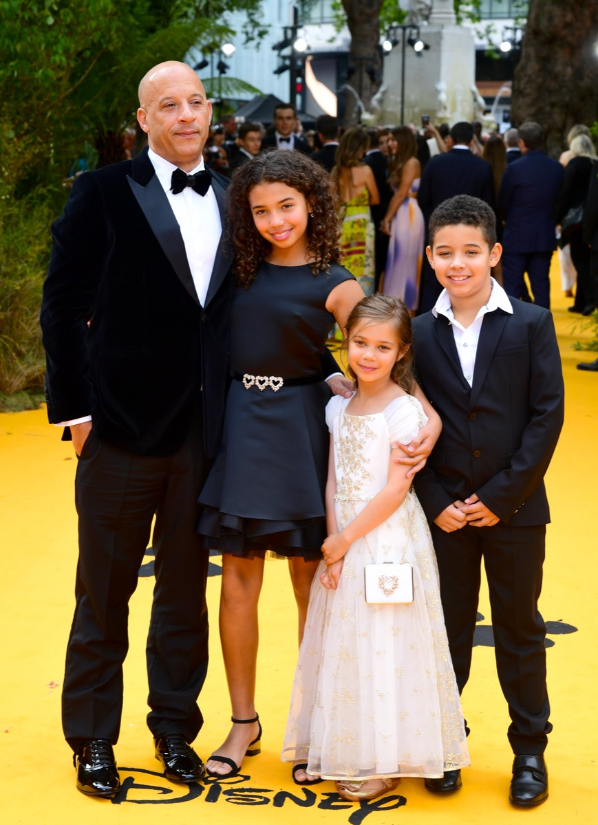 Vin Diesel and his children, Hania Riley Sinclair, Pauline Sinclair and Vincent Sinclair in 2019