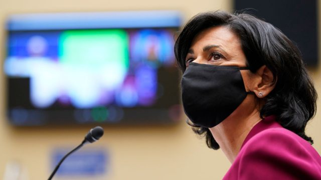 CDC director Dr. Rochelle Walensky wearing a face mask while testifying to a House Select Subcommittee