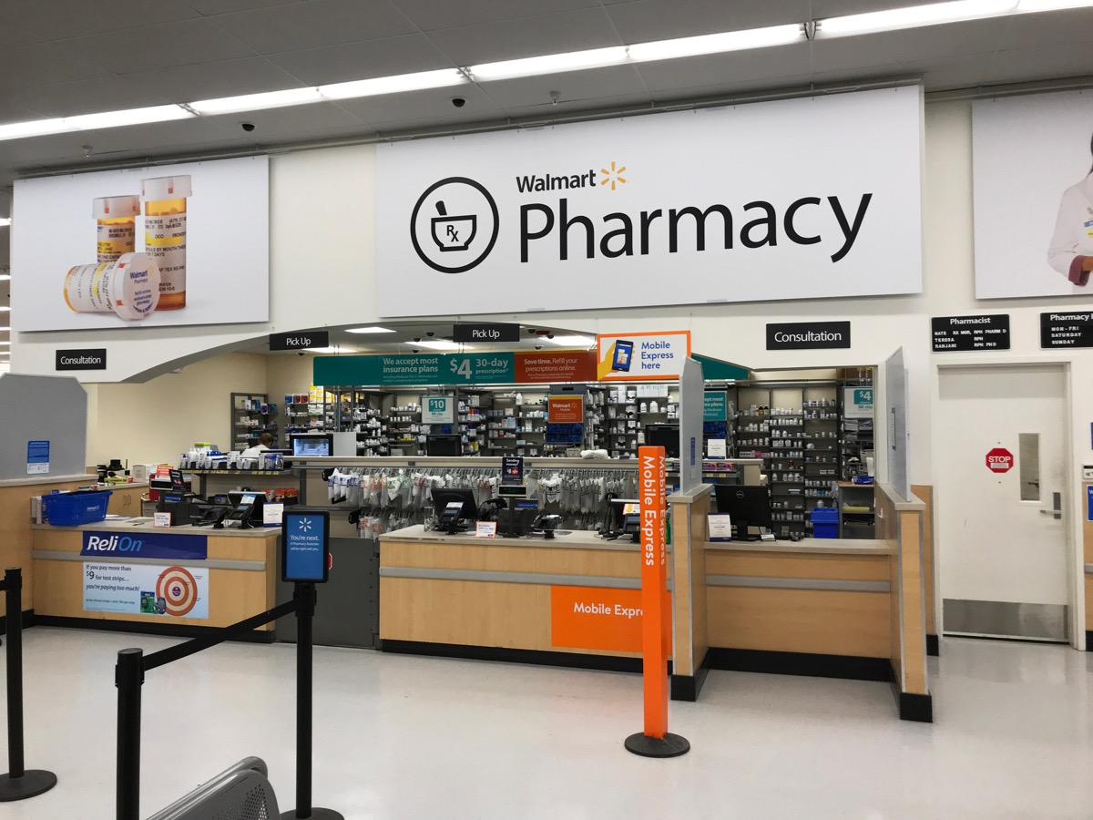 Eden Prairie, MN/USA- April 23, 2018. An interior shot of the Walmart Pharmacy in Minnesota.
