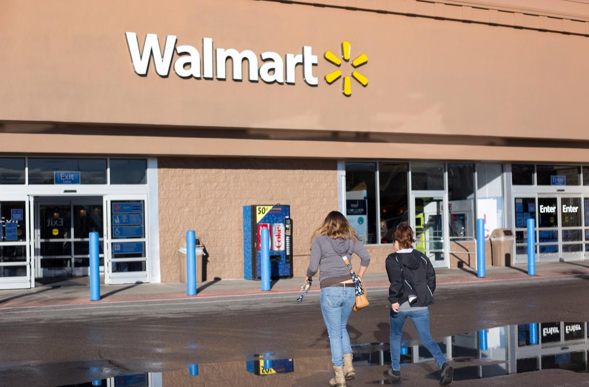 customers walking, entrance of Walmart