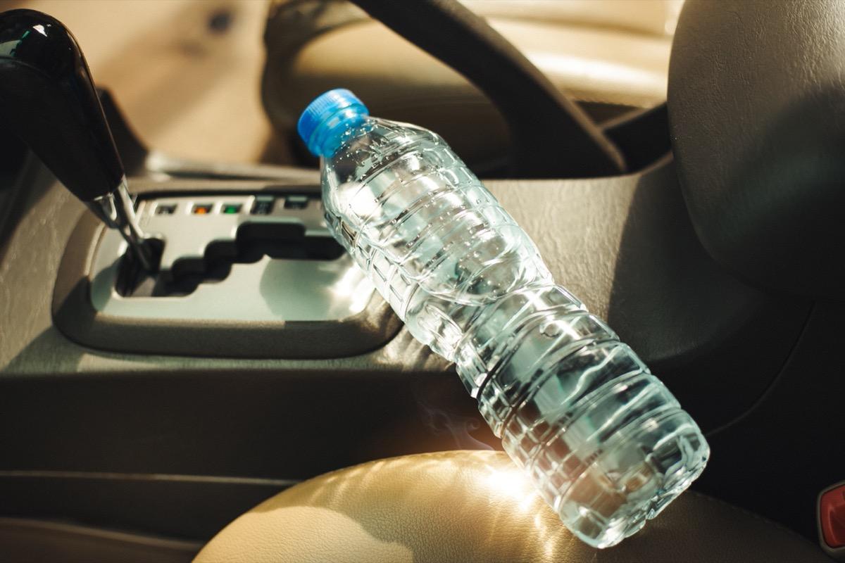 plastic water bottle in hot car