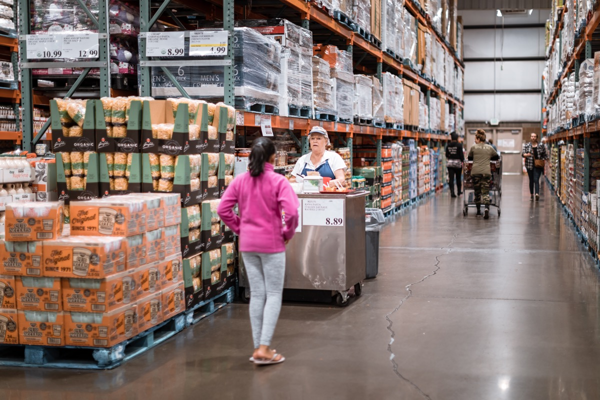 Tigard, Oregon - Oct 25, 2019 : Costco wholesale warehouse shopping aisle with food testing