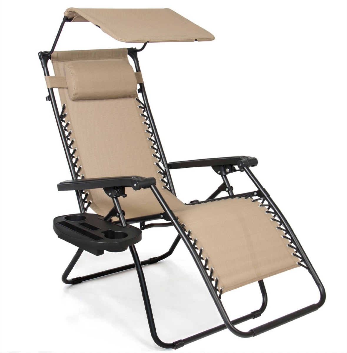 beige lounger chair with overhead canopy