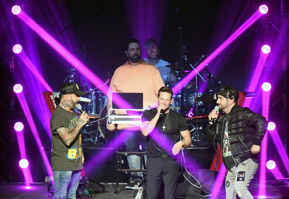 AJ McLean, DJ Lux, Jeff Timmons, and Chris Kirkpatrick performing at An Evening to Save Lives: Music For Life in June 2021