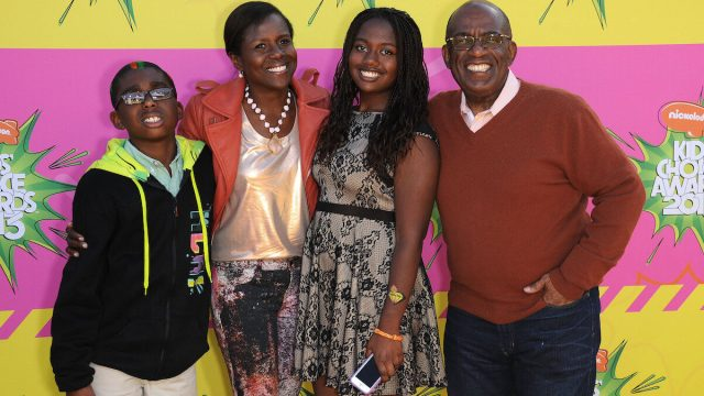 Al Roker, Deborah Roberts, and their children Leila and Nick at the Kids' Choice Awards in 2013