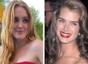 Brooke Shields and her daughter Rowan wearing her dress to prom
