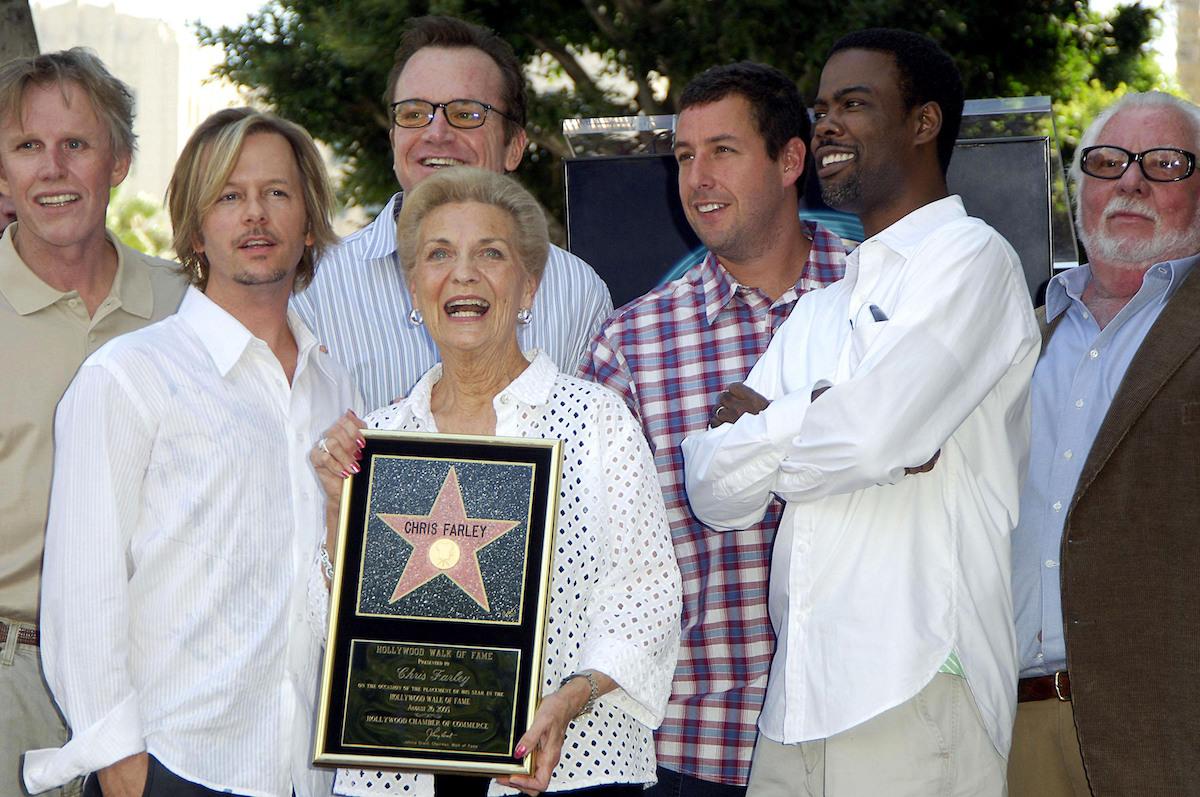 Gary Busey, David Spade, Tom Arnold, Mary Anne Farley, Adam Sandler, Chris Rock, and Bernie Brillstein at Chris Farley's Hollywood Walk of Fame ceremony in 2005