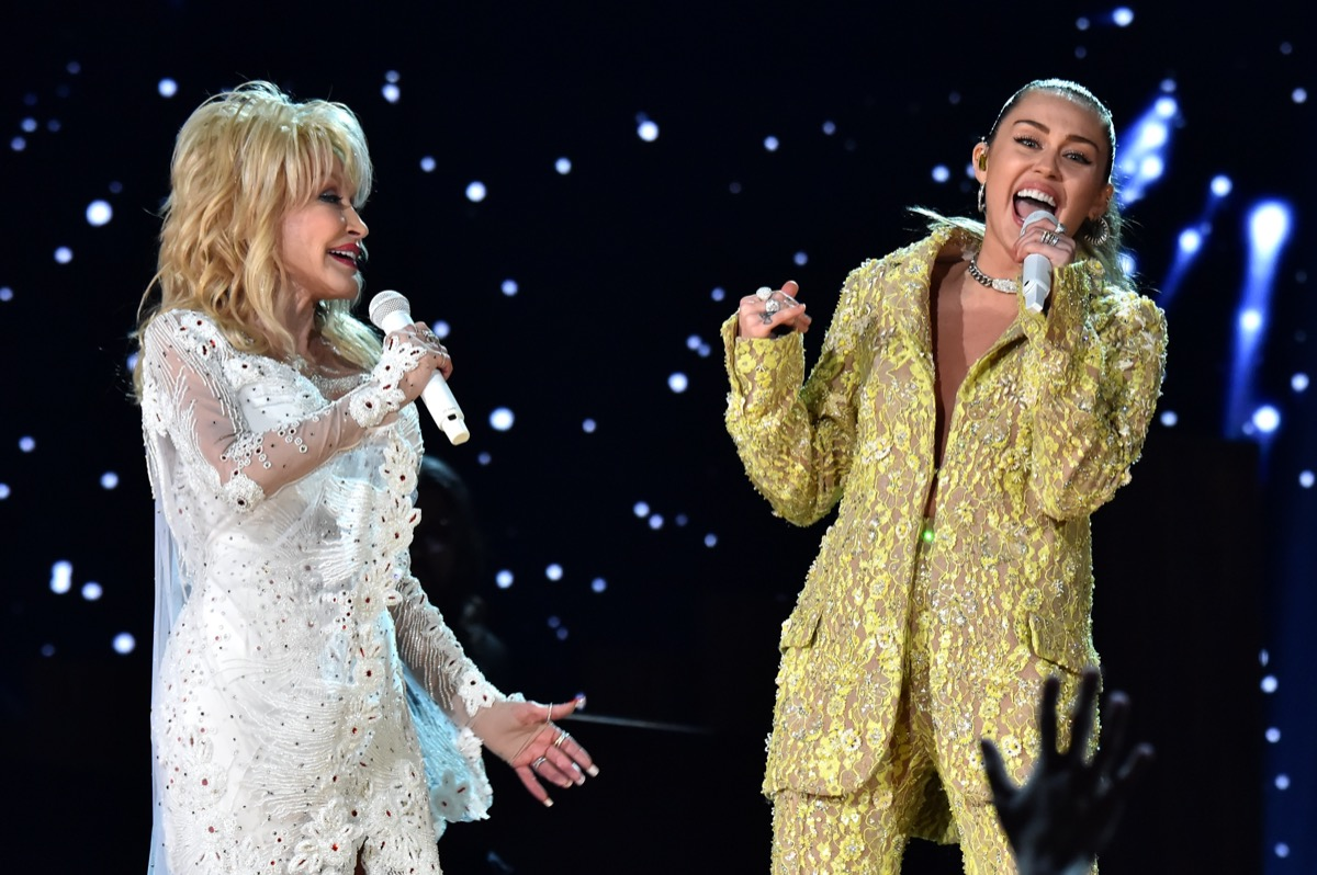 Dolly Parton and Miley Cyrus performing