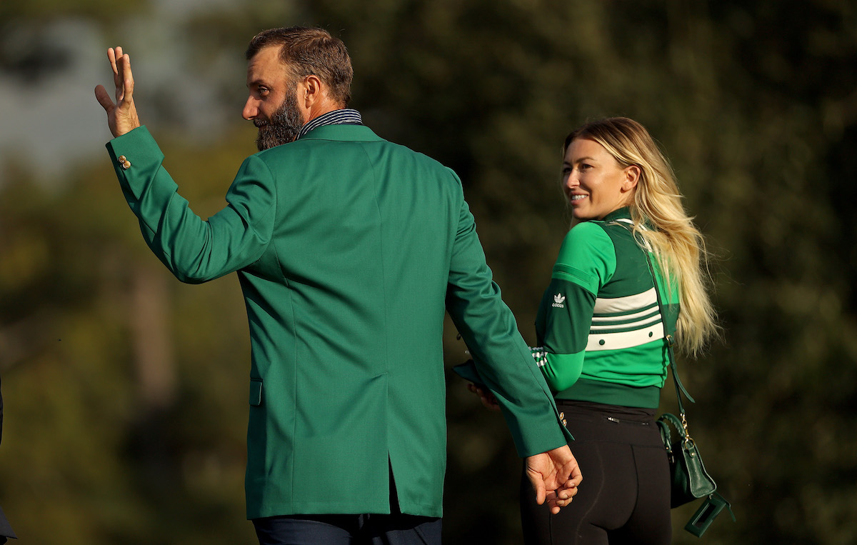 Dustin Johnson and Paulina Gretzky at the Masters in 2020