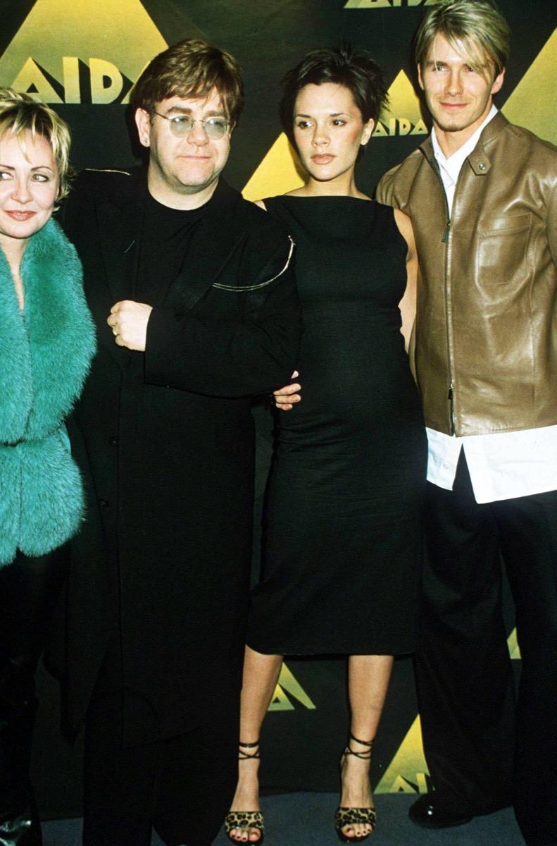 Elton John, Victoria Beckham, and David Beckham