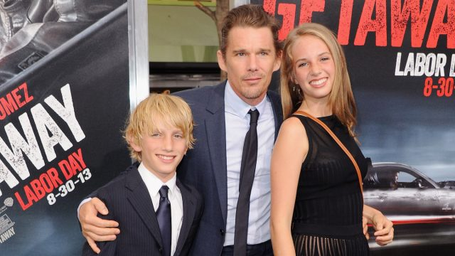 """Ethan Hawke with children Levon and Maya at the 2013 premiere of """"Getaway"""""""