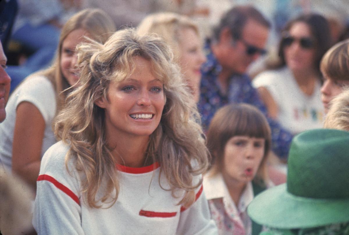 Farrah Fawcett at the Cedars-Sinai Medical Center charity tennis tournament in 1976