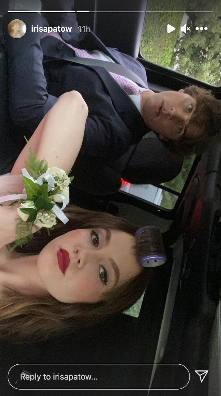 Iris Apatow posing in a car during prom night