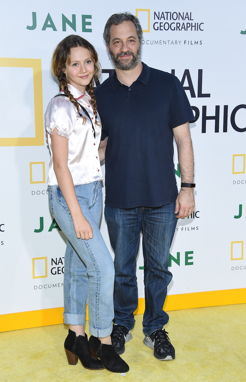 """Iris and Judd Apatow at the premiere of """"Jane"""" in 2017"""