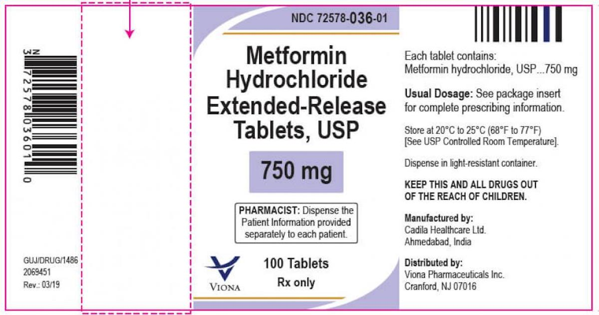 Viona Pharmaceuticals Inc., is voluntarily recalling 2 (two) lots of Metformin Hydrochloride Extended-Release Tablets, USP 750 mg