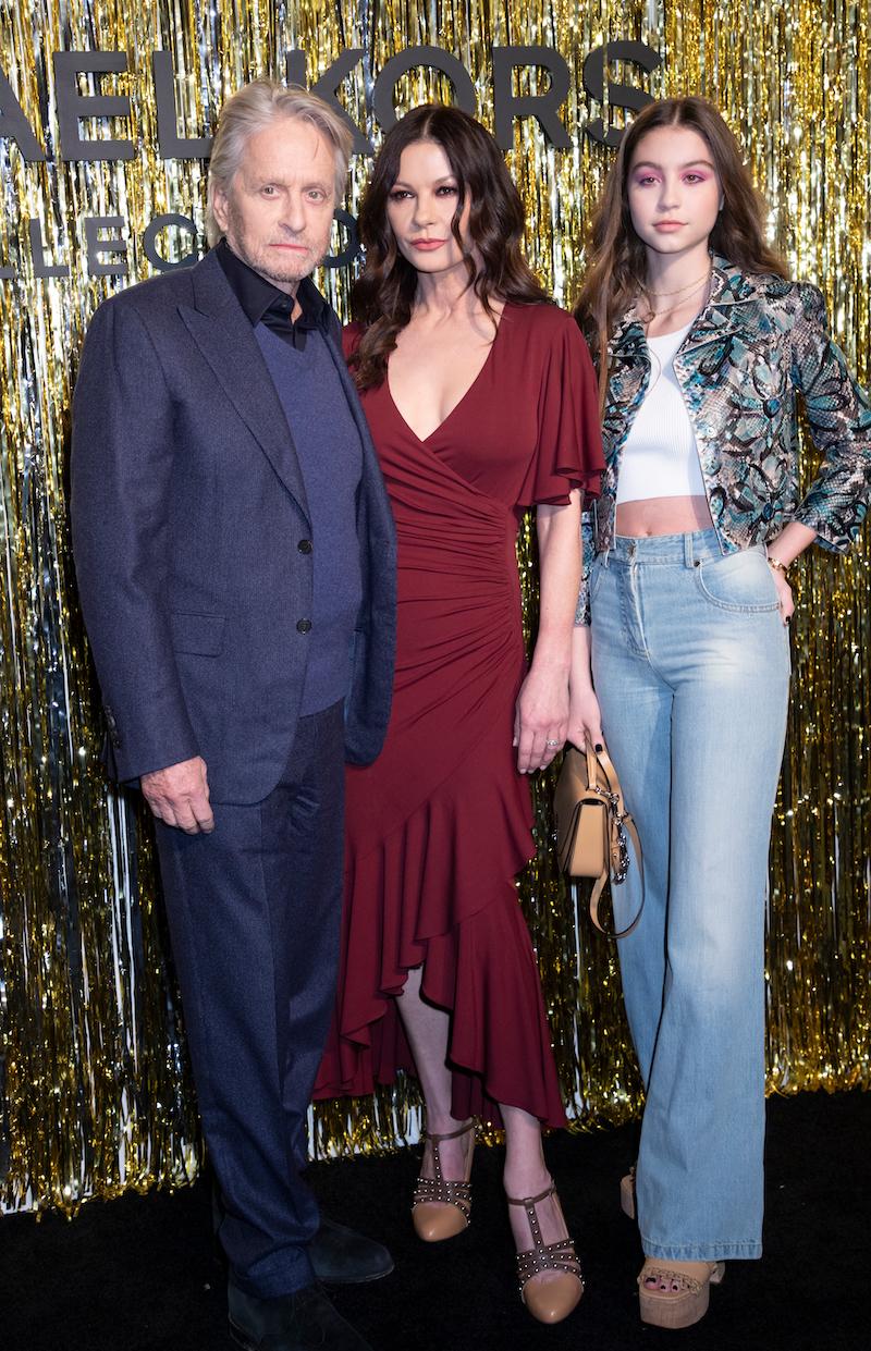 Michael Douglas, Catherine Zeta-Jones, and Carys Douglas at the Michael Kors Collection runway show in 2019