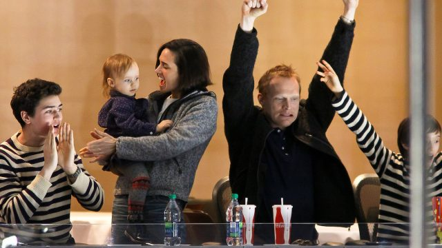 Paul Bettany, Jennifer Connelly, and their kids at a hockey game in Winnipeg, Manitoba, Canada in 2013