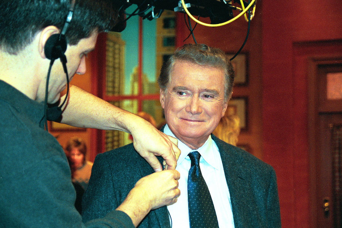 """Regis Philbin on set of """"Live! With Regis and Kelly"""" in 2001"""
