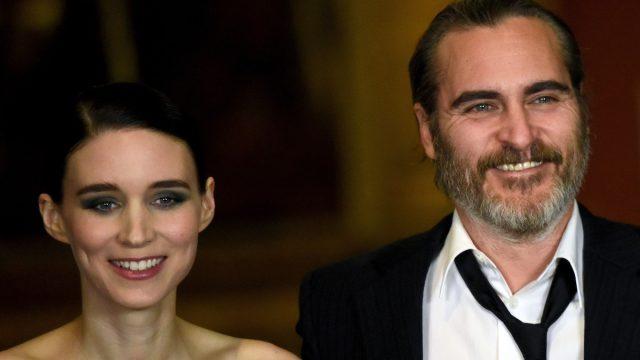 "Rooney Mara and Joaquin Phoenix at a screening of ""Mary Magdalene"" in 2018"