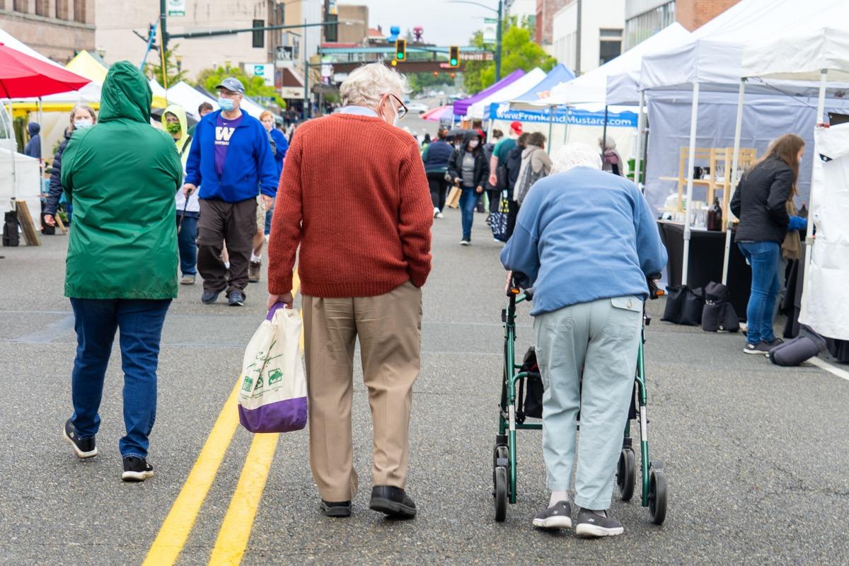 Senior couple at farmers market