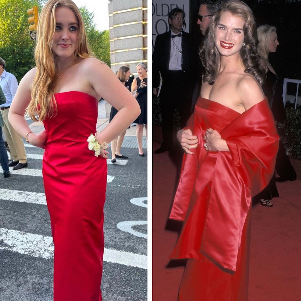 Brooke Shields daughter Rowan wears her 1998 Golden Globes dress to her 2021 prom