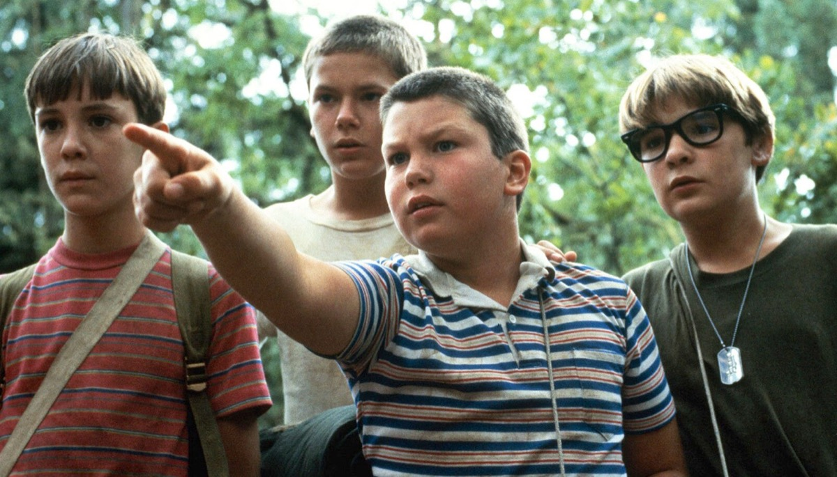 Wil Wheaton, River Phoenix, Jerry O'Connell, and Corey Feldman in Stand by Me