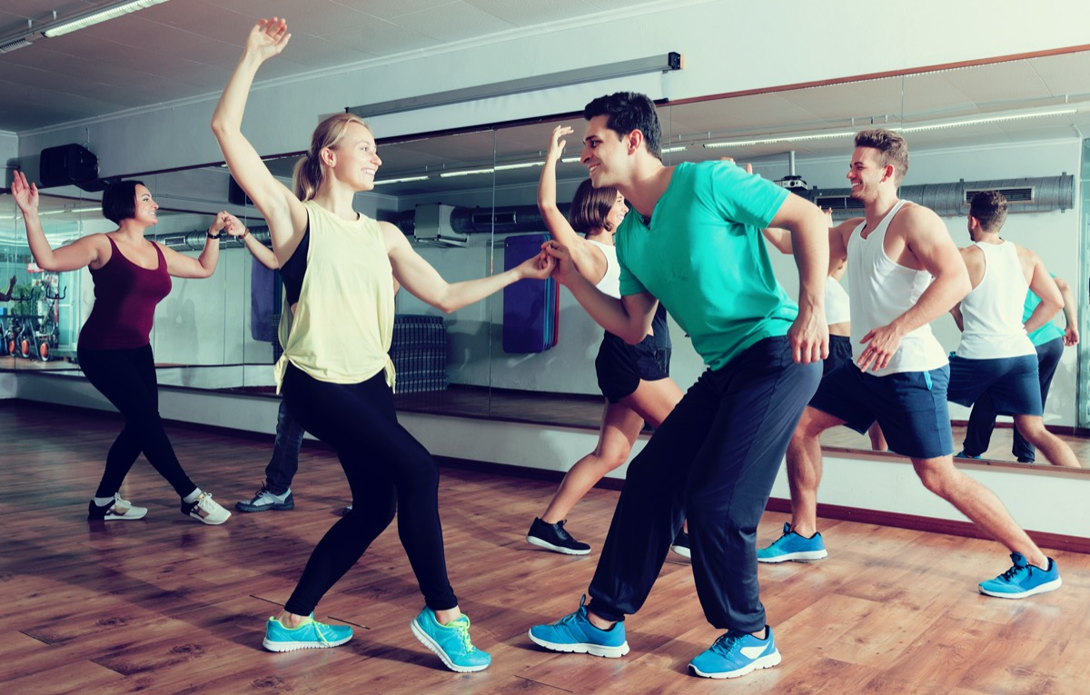 Young people in swing dance class