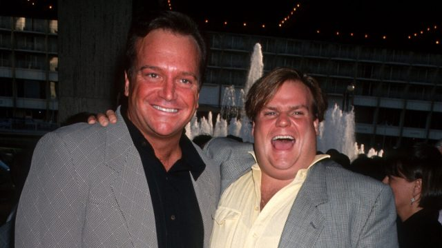 """Tom Arnold and Chis Farley at the premiere of """"Sleepless in Seattle"""" in 1993"""