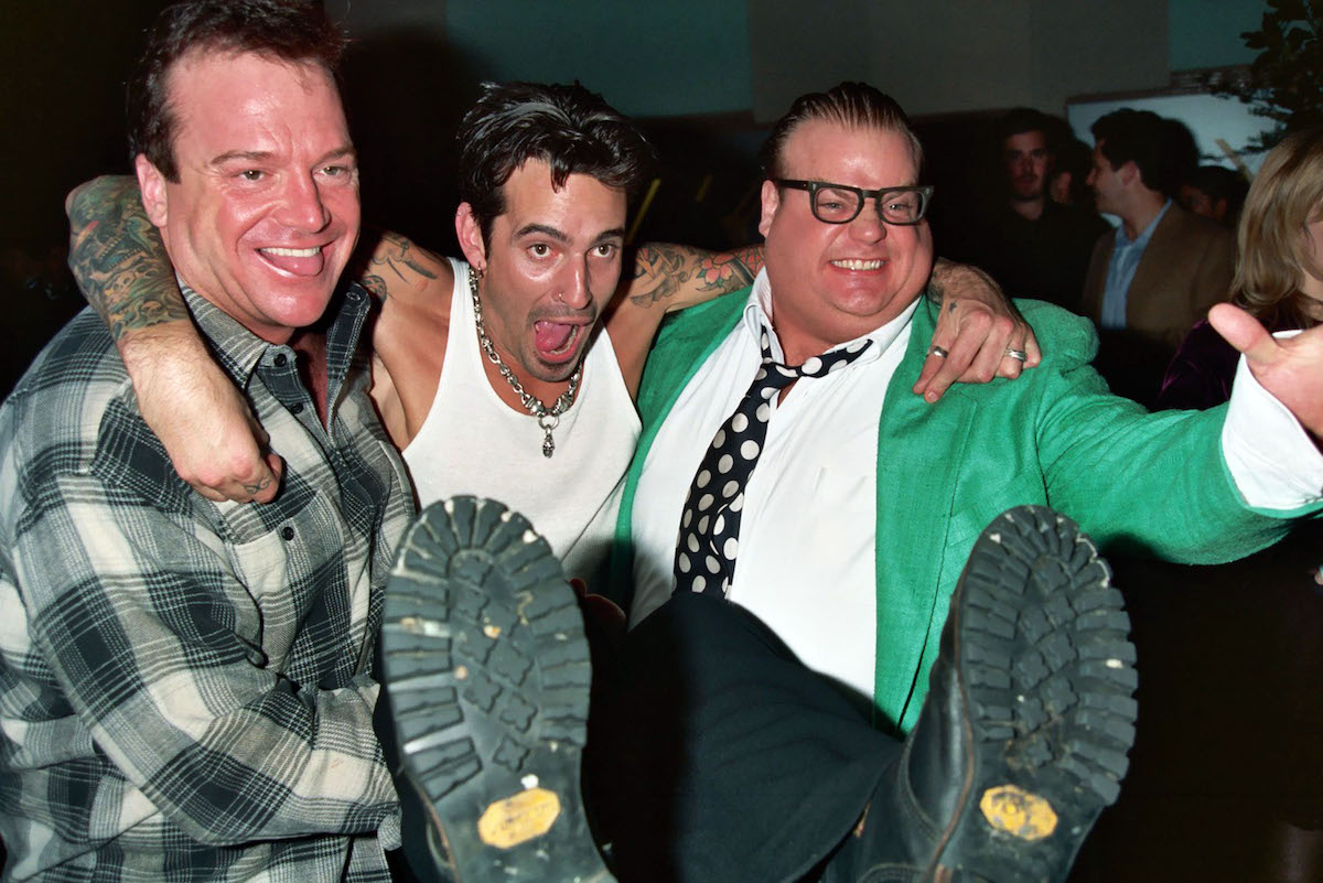 Tom Arnold, Tommy Lee, and Chris Farley at the 1995 Grammy Awards