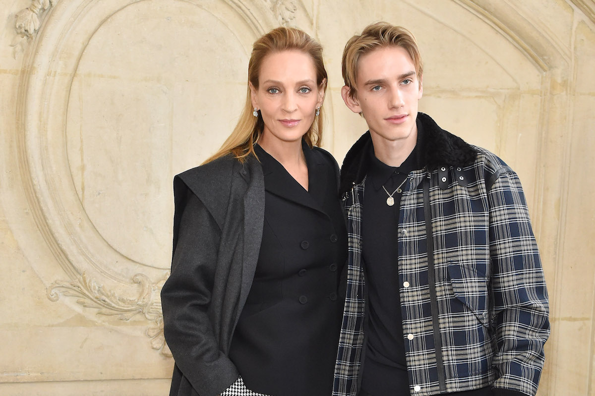 Uma Thurman and Levon Thurman Hawke at Dior's spring 2020 couture show in Paris