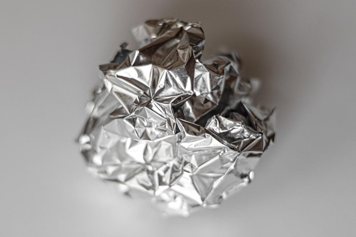 ball of crumpled aluminum foil