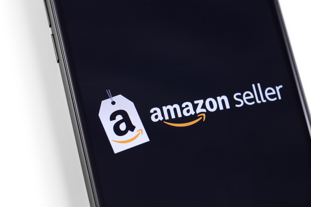 Amazon seller application logo on the screen smartphone. Amazon is world's largest online retailer. Moscow, Russia - October 30, 2018