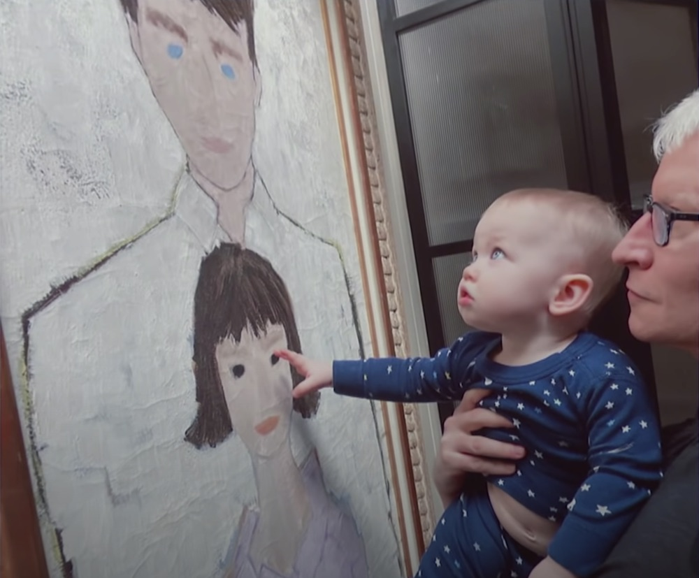 Anderson Cooper with son Wyatt and portrait of his parents