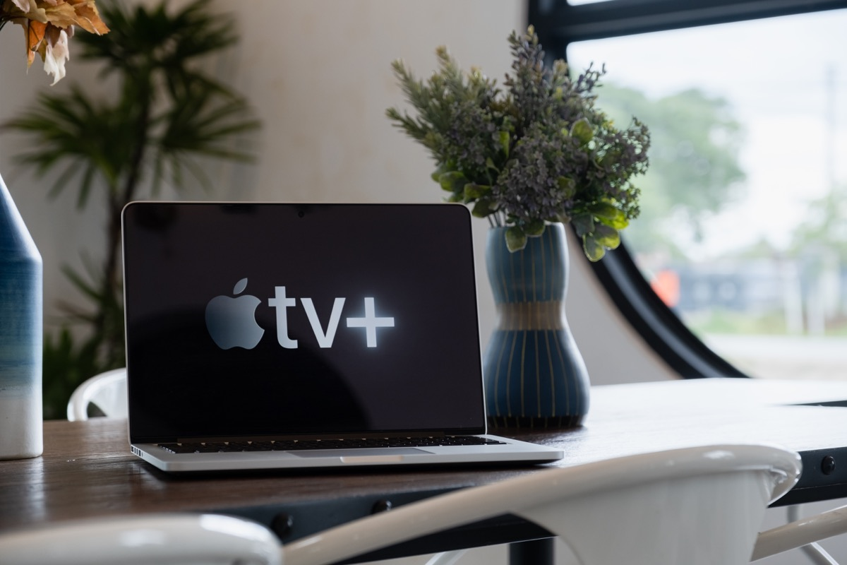 CHIANGMAI, THAILAND - JULY 17,2019 : Macbook and Apple TV plus logo on screen. Apple TV plus is streaming service.