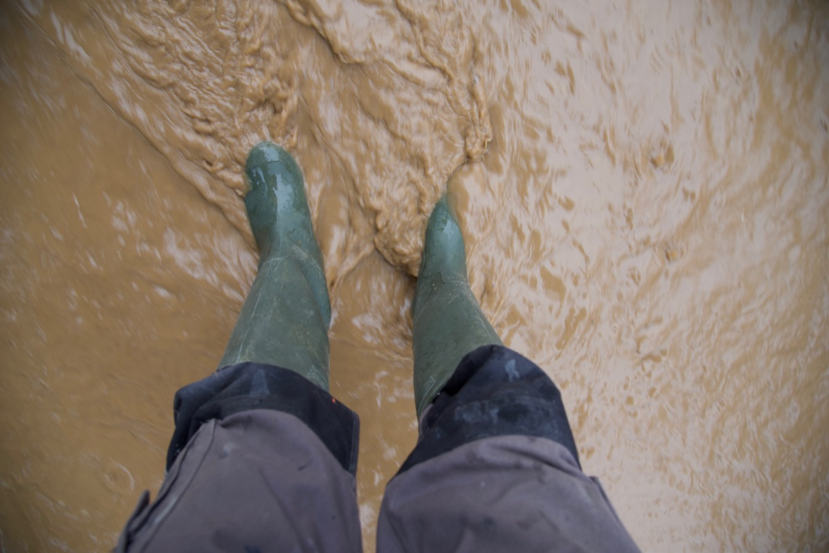 person wearing green boots in flood water