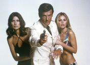 Maud Adams, Roger Moore and Britt Ekland in The Man With The Golden Gun