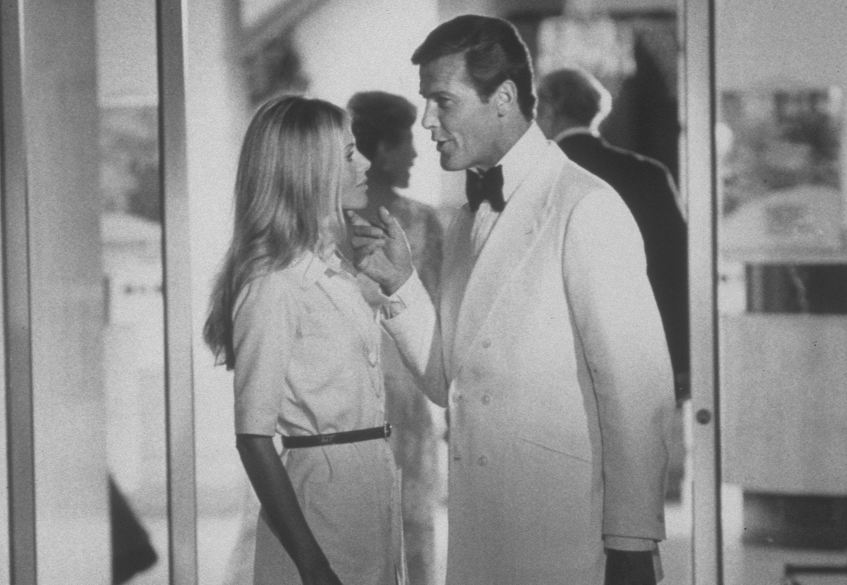 Roger Moore and Britt Ekland from the 1974 film, The Man with the Golden Gun.