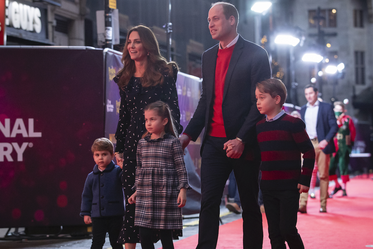 Prince William, Duke of Cambridge and Catherine, Duchess of Cambridge with their children, Prince Louis, Princess Charlotte and Prince George