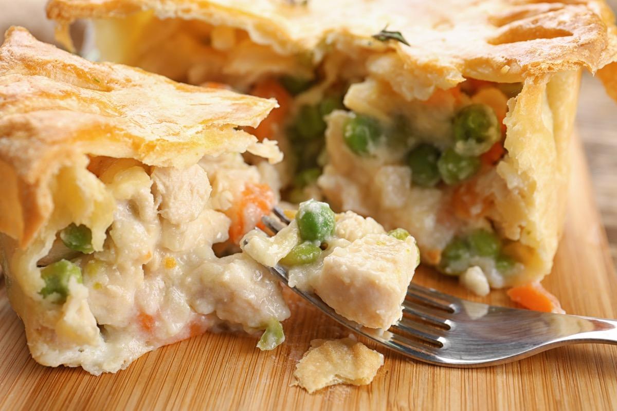 chicken pot pie and fork