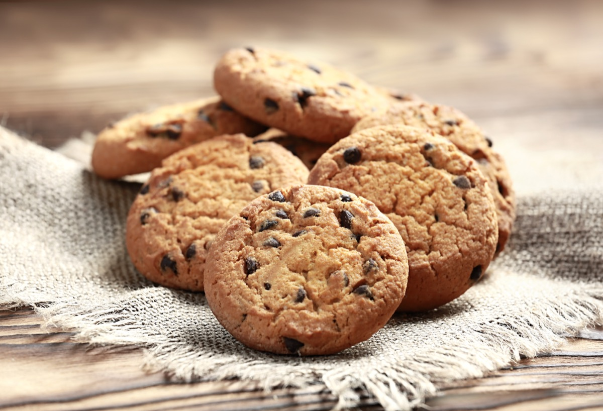 chocolate chip cookies on piece of fabric