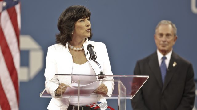 Christian Amanpour and mayor Michael Bloomberg at the opening ceremony of US Open tennis tournament on August 30, 2010, New York