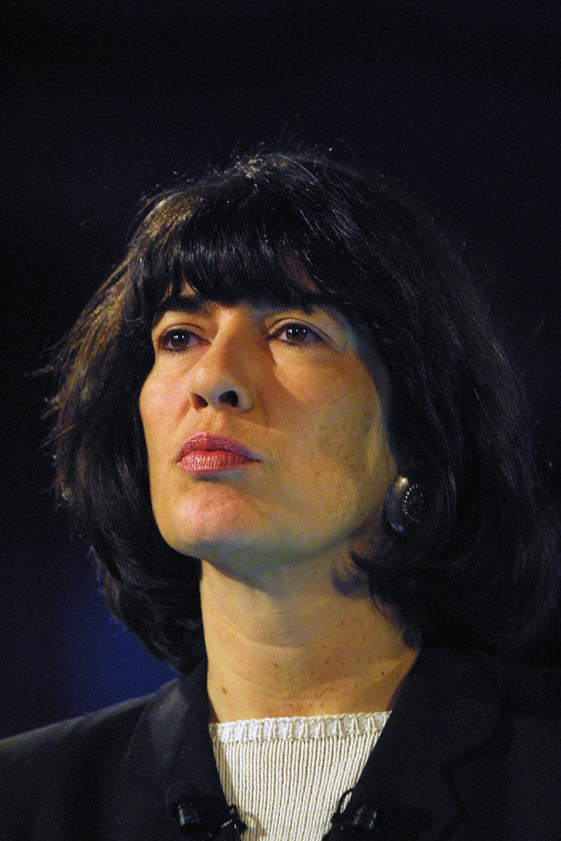 CNN anchorwoman Christian Amanpour moderates a media event in Budapest, Hungary, on November 6, 2003.