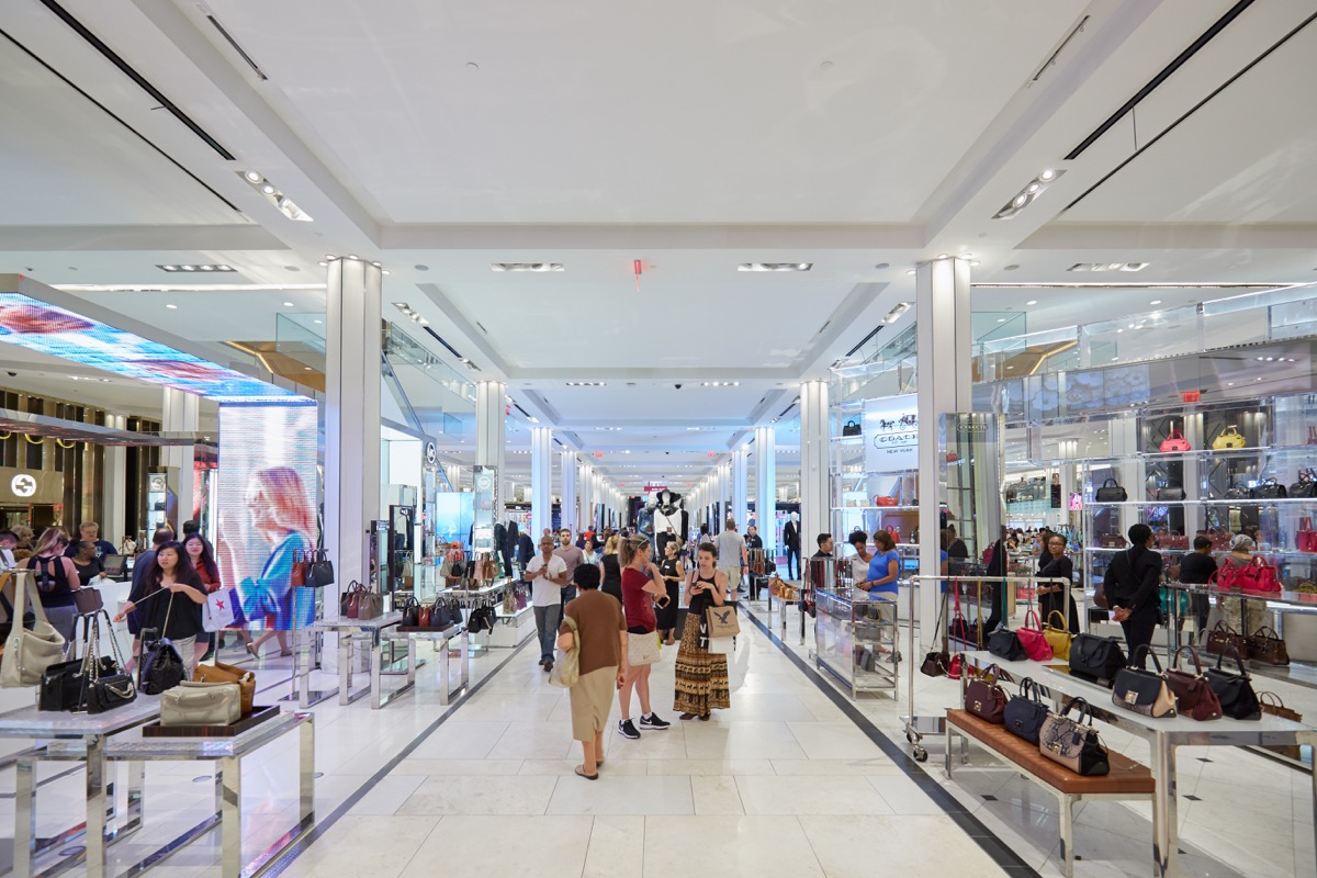 NEW YORK - SEPTEMBER 10: Macy's department store interior, bags and accessories area on September 10, 2016 in New York. Macy is the largest U.S. department store company.