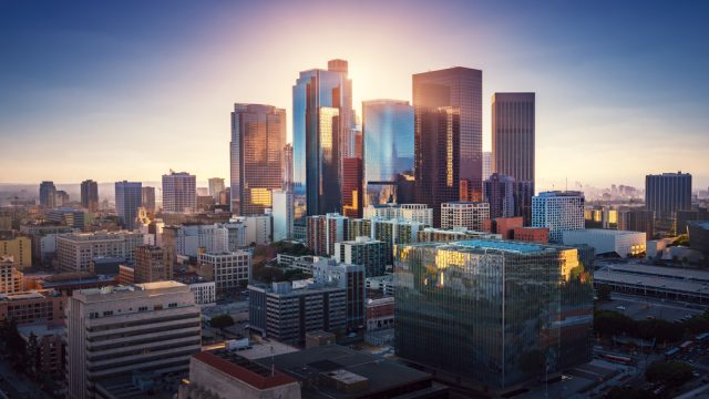 The skyline of Los Angeles, California at sunset