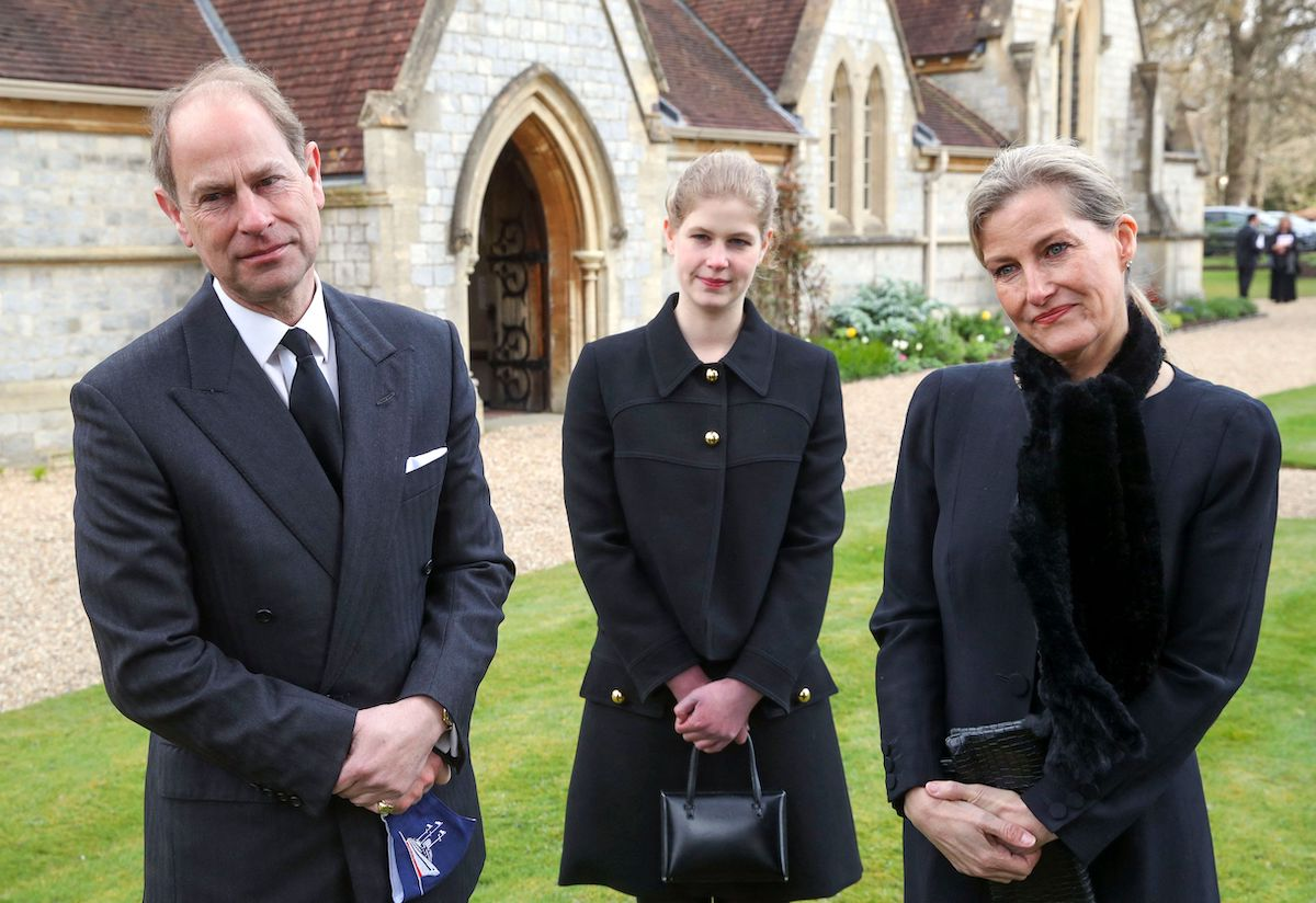 Britain's Prince Edward, Earl of Wessex (L), Britain's Sophie, Countess of Wessex, (R) and Britain's Lady Louise Windsor (C) attend Sunday service at the Royal Chapel of All Saints, at Royal Lodge, in Windsor on April 11, 2021, two days after the death of Prince Edward's father Britain's Prince Philip, Duke of Edinburgh.
