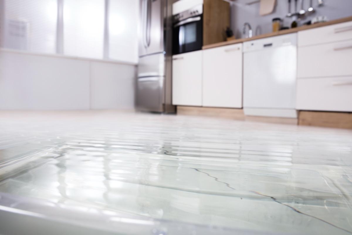 flooded modern kitchen